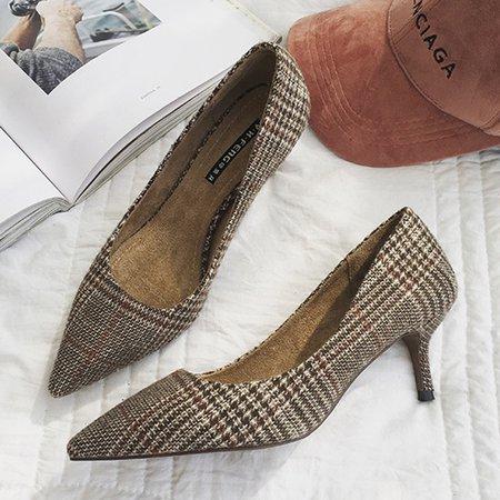 Checkered Gray Stiletto Heel Summer Heels