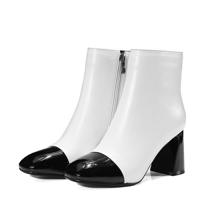 White Leather Color Block Chunky Heel Boot - StyleWe.com