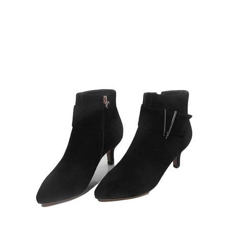 Black Stiletto Heel Winter Boots