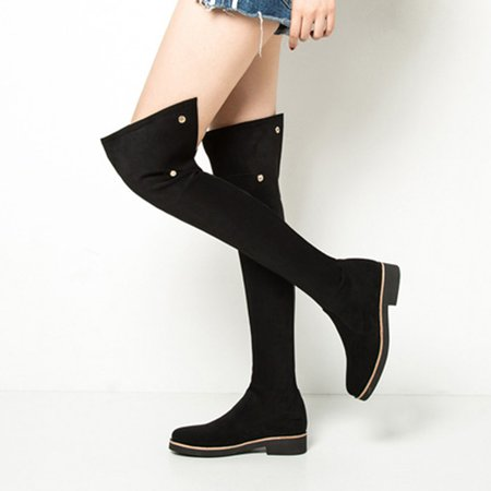 Black Suede Low Heel Button Over The Knee Boots
