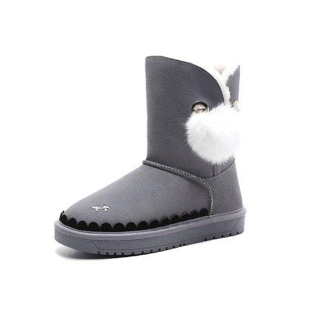 Plus Size Gray Winter Flat Heel Fur Snow Boots