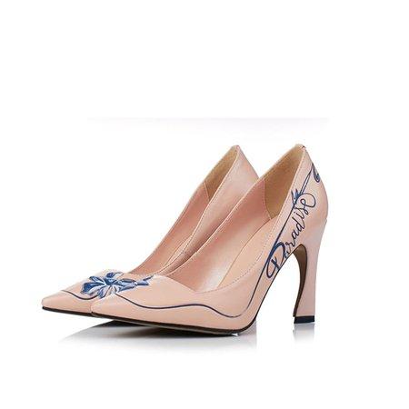 Apricot Leatherette Dress Spool Heel Print Heels