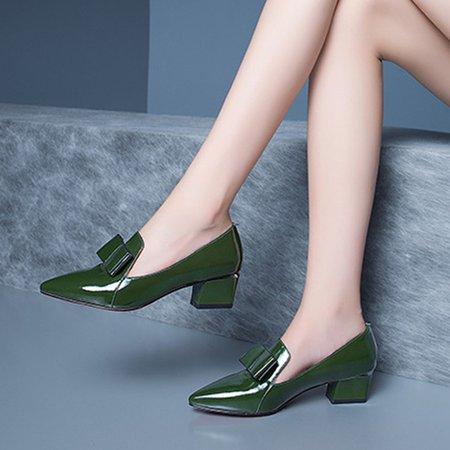 Green Chunky Heel All Season Patent Leather Bowknot Heels