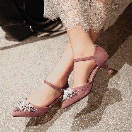 Deep Pink Summer Suede Imitation Pearl Dress Sandals