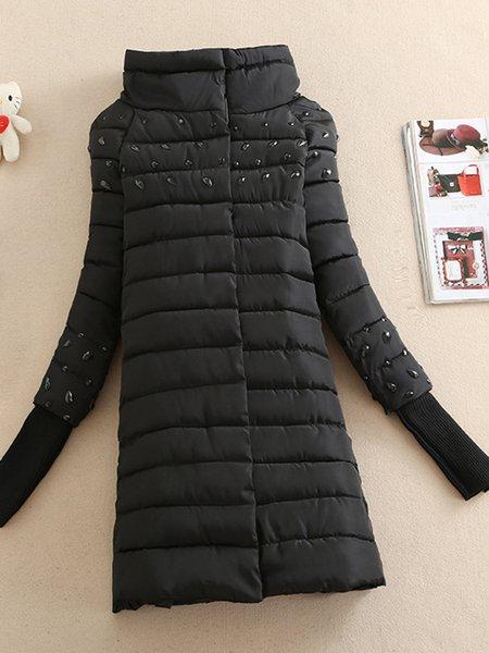 Beaded Long Sleeve H-line Casual Plain Coat
