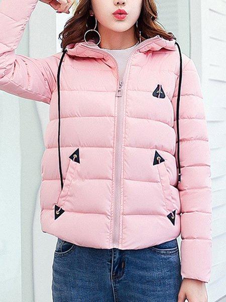 Plus Size Hoodie Plain Casual Long Sleeve Coat