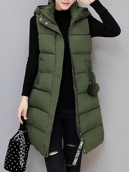 Plus Size Paneled Solid Casual Hoodie Sleeveless Vests And Gilet