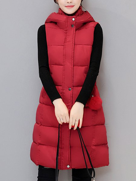 Plus Size A-line Hoodie Paneled Sleeveless Casual Vests And Gilet