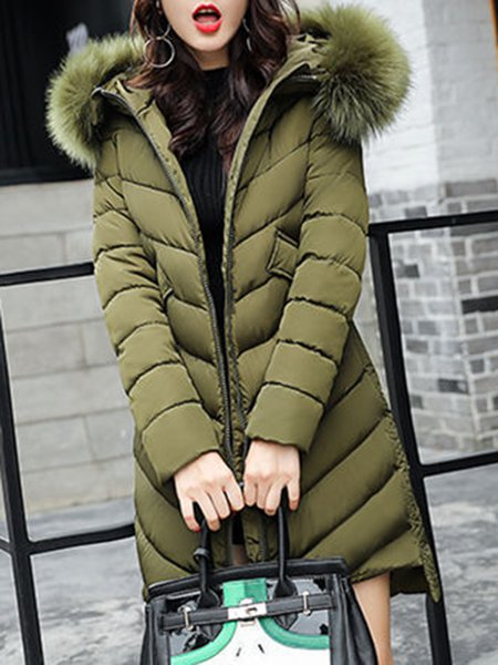 Solid Casual Long Sleeve Hoodie High Low Fur And Shearling Coat