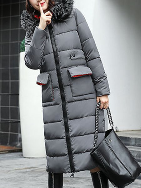 Casual H-line Paneled Long Sleeve Fur And Shearling Coat