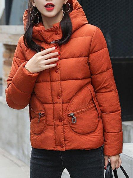 Paneled Long Sleeve Solid Casual Hoodie Coat