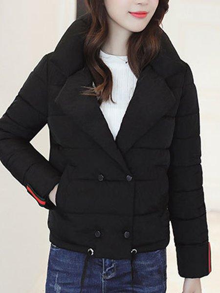 Plus Size Lapel Paneled Solid Casual Long Sleeve Coat