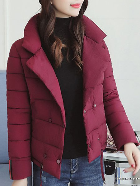 Plus Size Casual Paneled Long Sleeve Solid H-line Coat