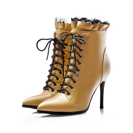 Yellow Ruffles Leather Winter Stiletto Heel Lace-up Boots