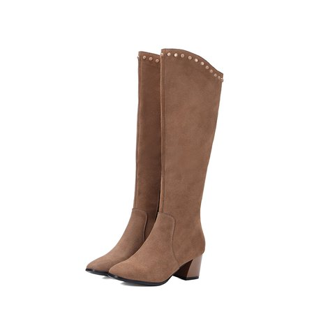 Coffee Suede Winter Chunky Heel Zipper Boots