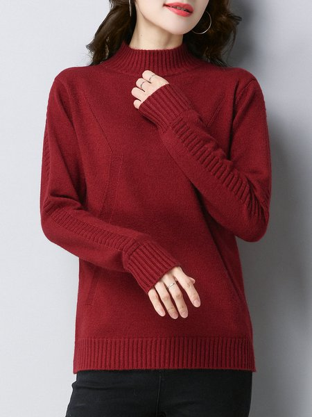 Casual Turtleneck Solid Long Sleeve Sweater