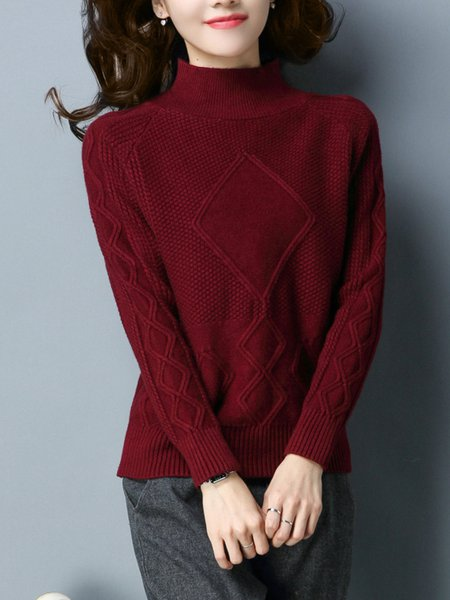 Cable Casual Solid Long Sleeve Sweater