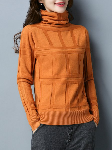 Turtleneck Solid Knitted Long Sleeve Casual Sweater