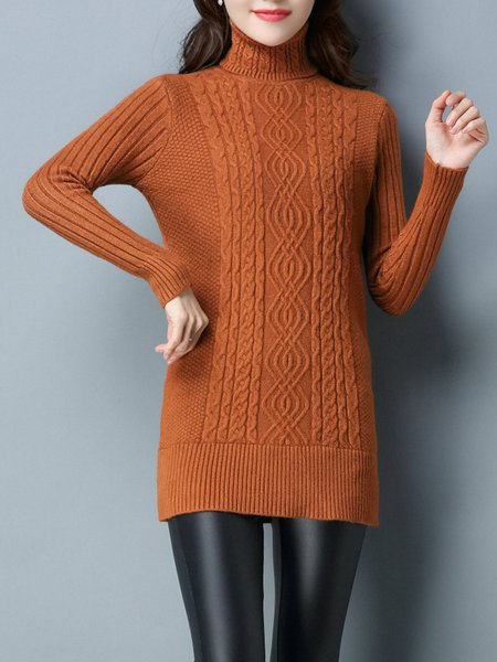 Long Sleeve Cable Knitted Casual Sweater