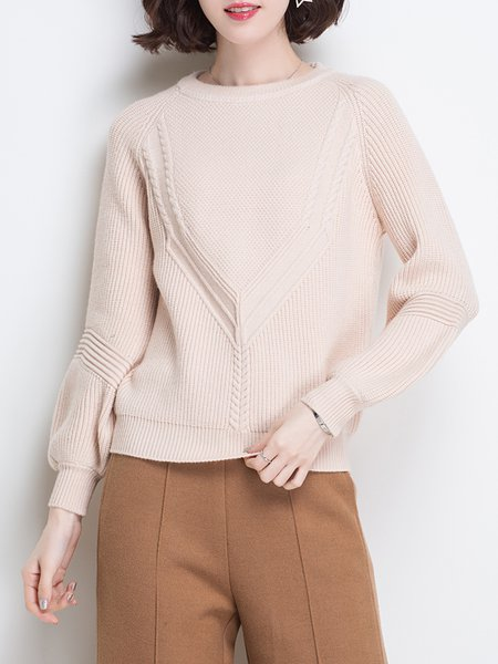 Balloon Sleeve Crew Neck Casual H-line Sweater