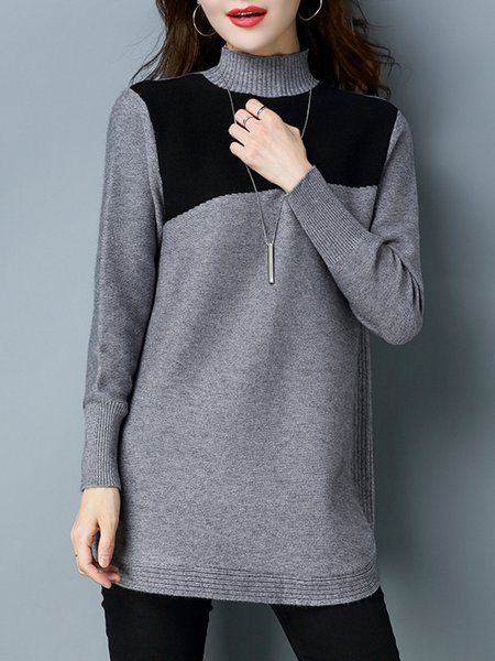 Gray Intarsia Knitted Casual Sweater