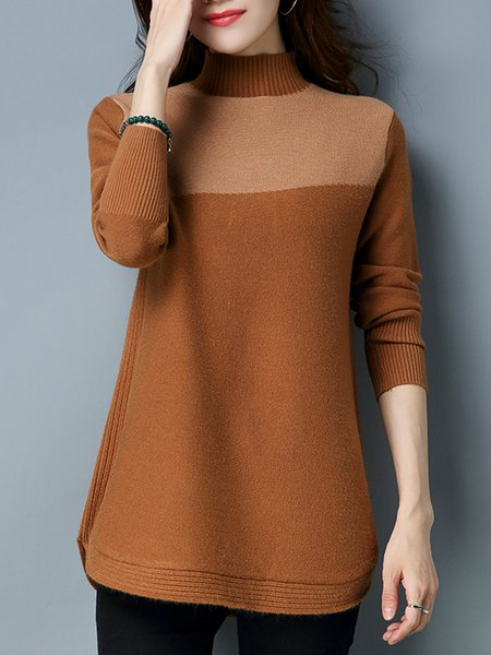 Casual H-line Turtleneck Long Sleeve Intarsia Sweater