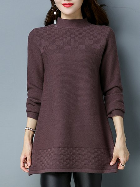 Solid Long Sleeve Casual Stand Collar Knitted Sweater