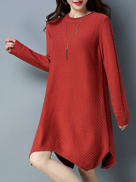 Knitted Casual Slit Long Sleeve Sweater Dress