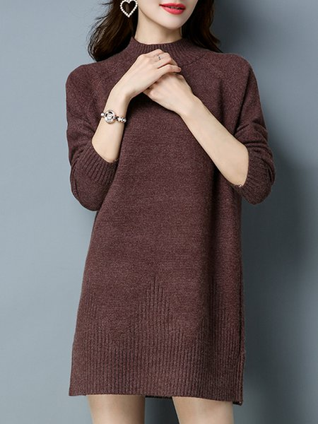 Casual Solid Long Sleeve Cable Knitted Sweater Dress