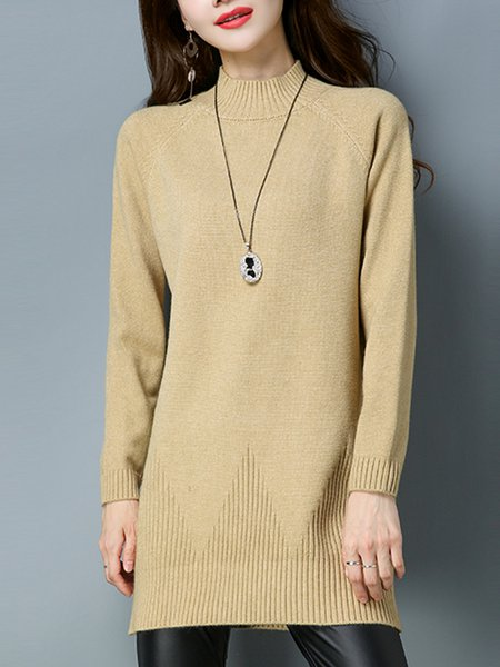 Chalky Yellow Long Sleeve Knitted Cable H-line Sweater Dress