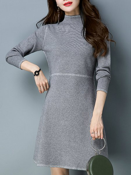 Turtleneck A-line Casual Knitted Long Sleeve Sweater Dress