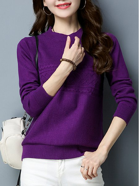 Casual Crew Neck Long Sleeve H-line Knitted Sweater