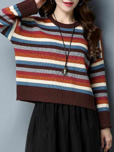 Coffee Knitted Intarsia H-line Long Sleeve Sweater