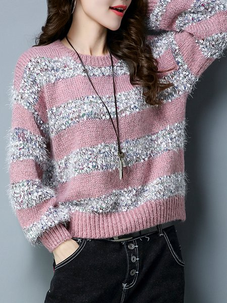 Casual Crew Neck Knitted Balloon Sleeve Intarsia Sweater