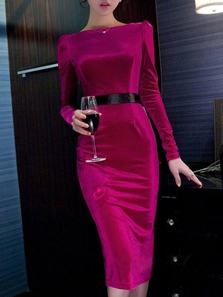 Velvet Long Sleeve Sheath Slash Neck Midi Dress