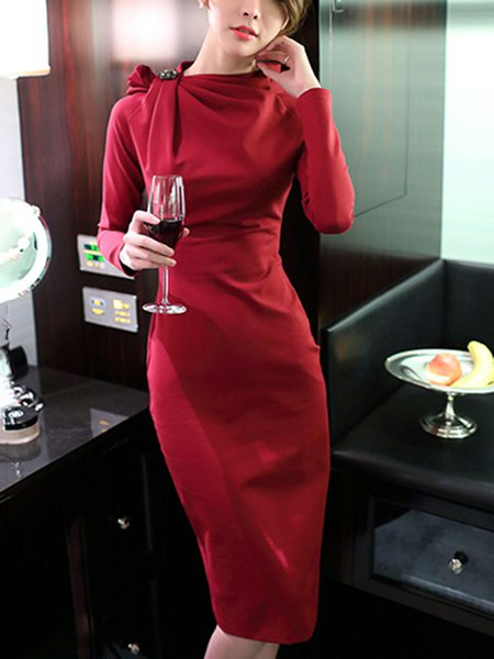 Stand Collar Long Sleeve Beaded Simple Solid Midi Dress