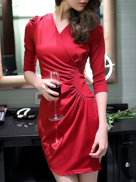 3/4 Sleeve Asymmetrical Wrap Dress