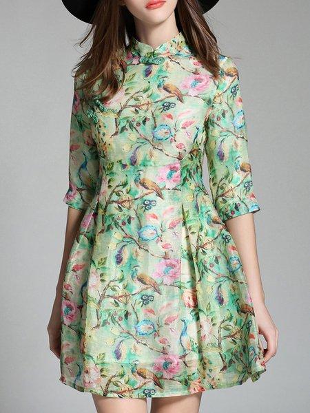 Light Green Floral Half Sleeve A-line Mini Dress