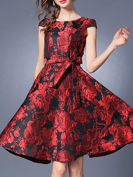 Crew Neck Short Sleeve Simple Floral Swing Midi Dress