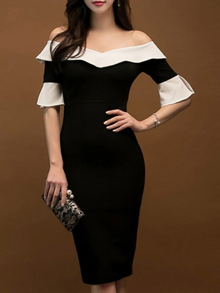 Off Shoulder Sheath Casual Paneled Bell Sleeve Midi Dress