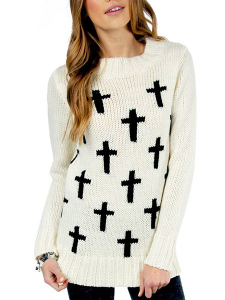 Crew Neck Geometric Casual Intarsia Long Sleeve Sweater