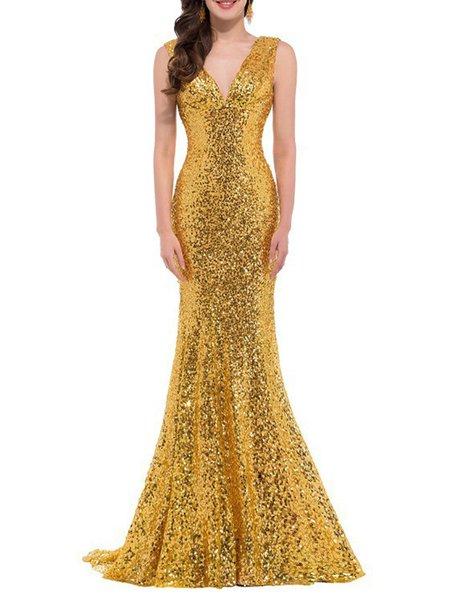Mermaid Elegant Plain Glitter-finished Sleeveless Maxi Dress