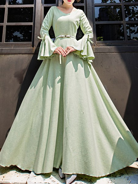 Light Green Bell Sleeve V Neck Solid Bow Maxi Dress