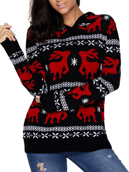 Knitted Long Sleeve Hoodie Casual Intarsia Sweater