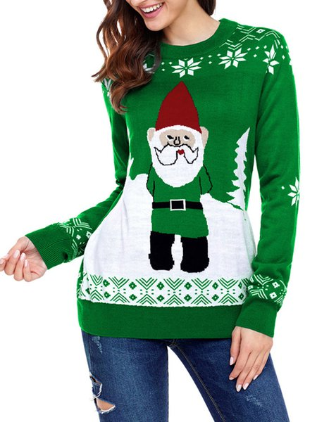 Cocktail H-line Crew Neck Knitted Long Sleeve Sweater