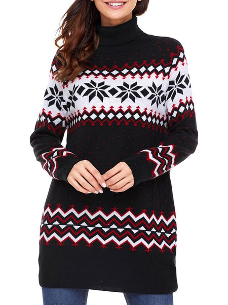 Knitted Long Sleeve Turtleneck Tribal Casual Sweater