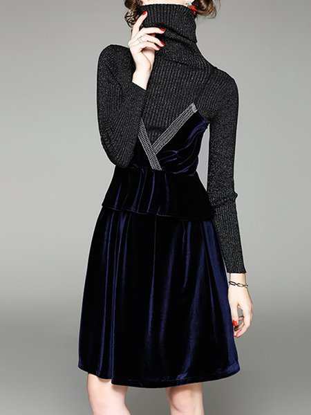 Navy Blue Knitted Long Sleeve Beaded Solid Dress With Top