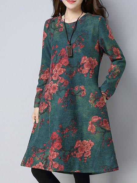 Long Sleeve Casual A-line Printed Midi Dress