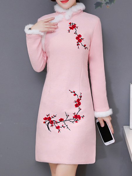 Long Sleeve Floral Cotton Fluffy Midi Dress