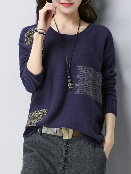 Plus Size Purple Knitted Intarsia Long Sleeve Sweater